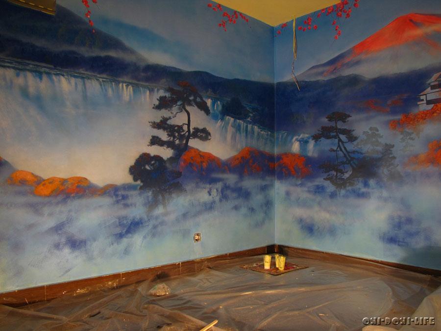 водопад на стене красками