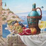 натюрморт с фруктами и ракушкой на набережной