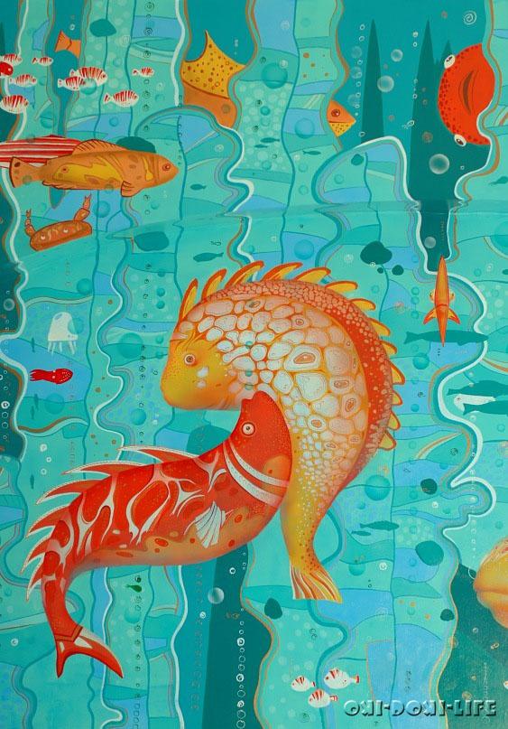нарисованные морские водоросли, рыбы