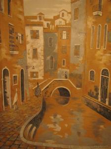 городской пейзаж на стене