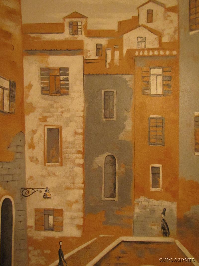 рисунок город на стене