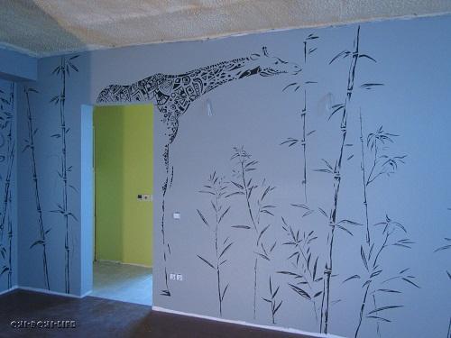 роспись на моющихся обоях, жираф