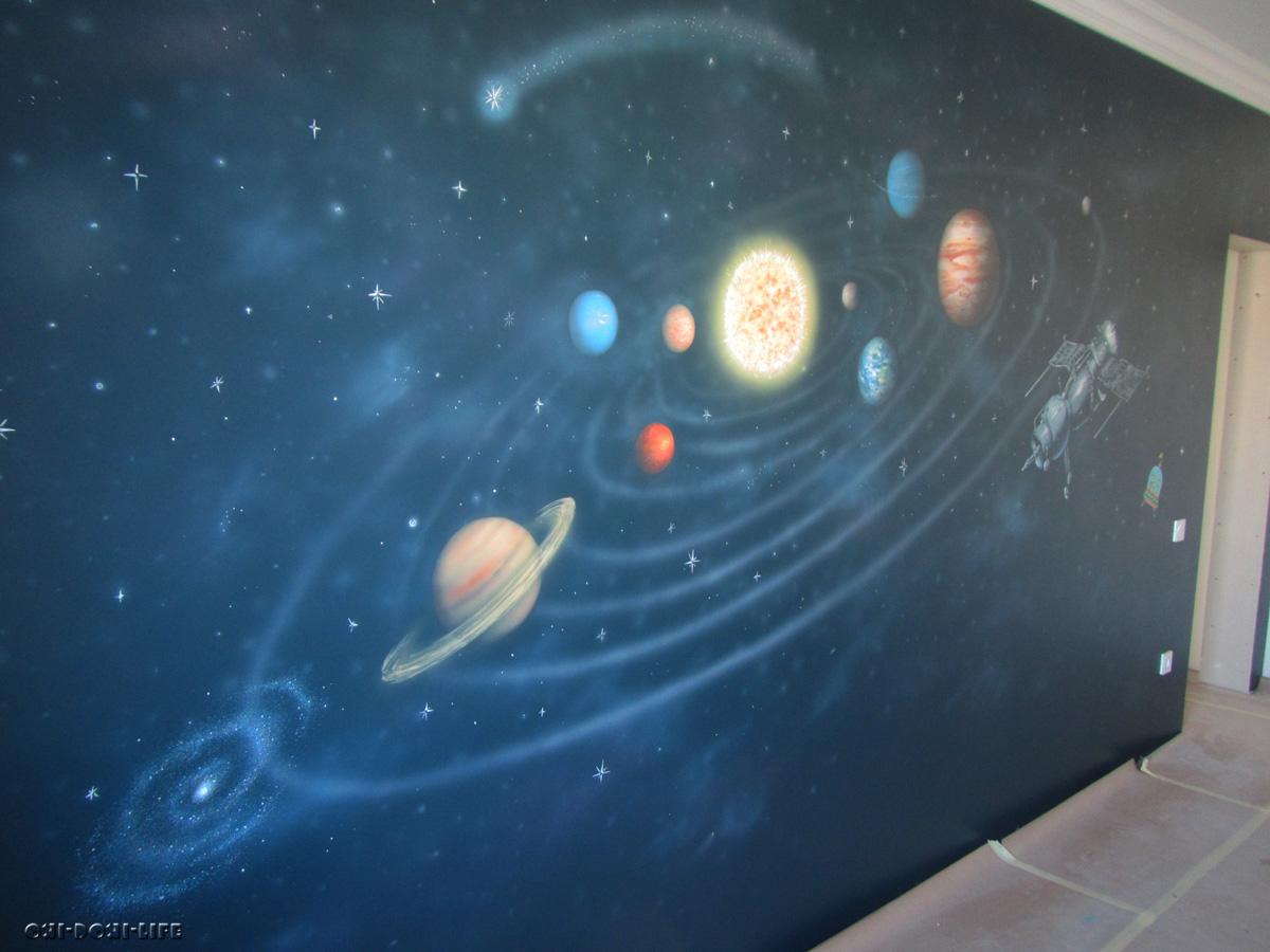 роспись детской комнаты, космос
