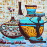 натюрморт африканские вазы статуэтка девушка