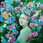 цветы девушка