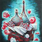 натюрморт ночь розы цветы вино