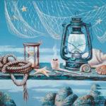 летучая мышь лампа песочные часы трубка море ракушки
