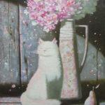 кот кошка цветы натюрморт