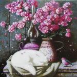 кот спит, розовые цветы розы лампа винтаж