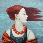 девушка море ветер рыжая ассоль
