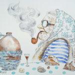 бабушка курит трубка рисунок графика