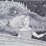 дракон девушка рисунок иллюстрация