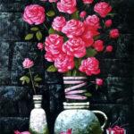 цветы розы натюрморт гранаты фрукты