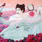 живопись девушка бык розы цветы рассвет